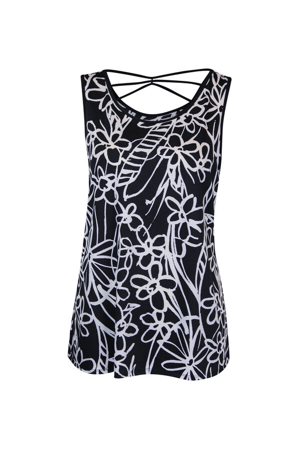 Criss Cross Back Sleeveless Floral Print Top, Black, original image number 0