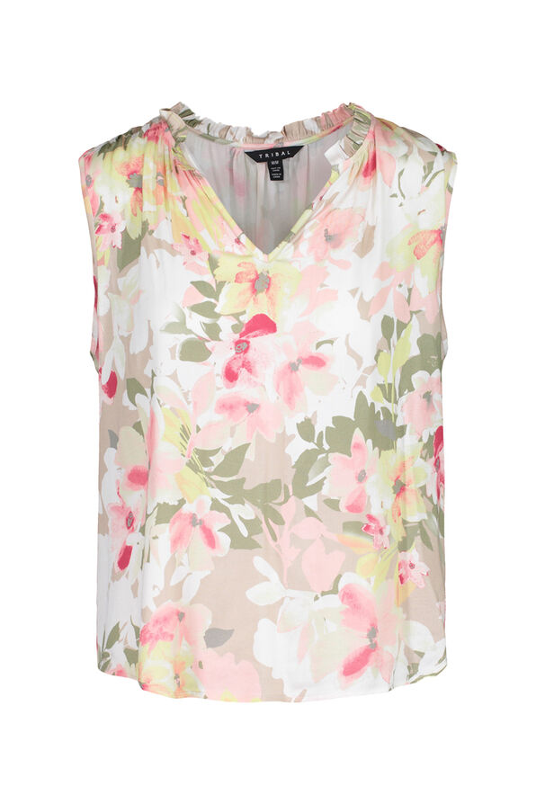 Sleeveless Floral Blouse with Accented Neckline, Sage, original image number 2