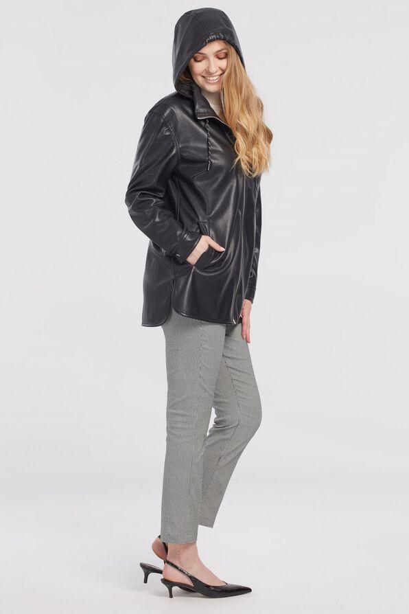 Autumn Pleather Jacket with Packable Hood, Black, original image number 3