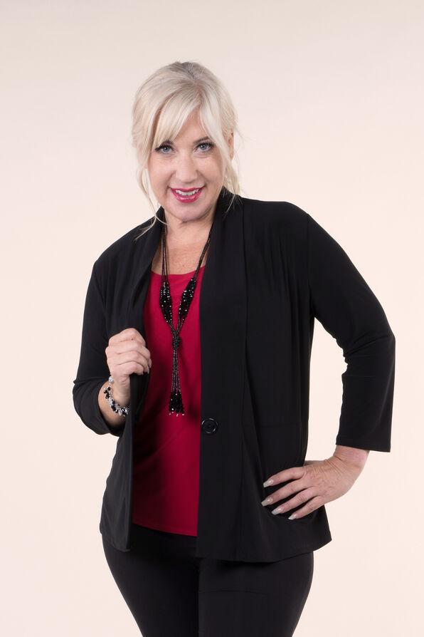 3/4 Sleeve Solid Knit Jacket, Black, original image number 0