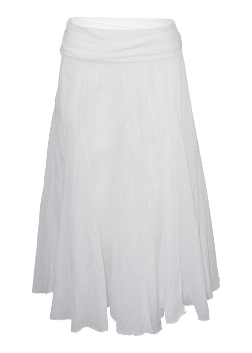 Cotton A-Line Skirt with Fold Over Waist, White, original