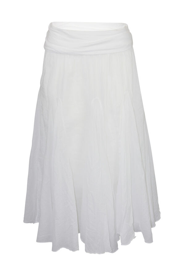Cotton A-Line Skirt with Fold Over Waist, White, original image number 0
