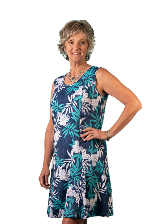 Sleeveless Panel Dress with Puff Print, Blue, original