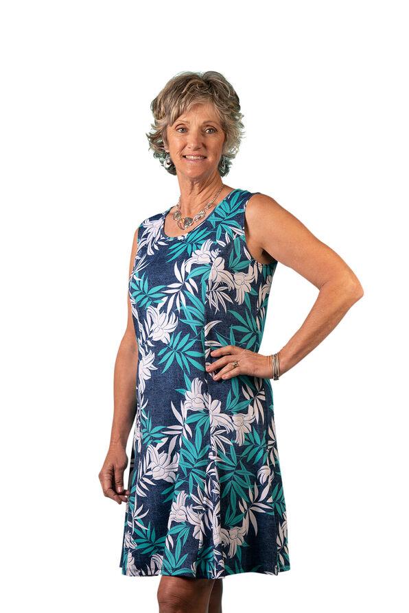 Sleeveless Panel Dress with Puff Print, Blue, original image number 0