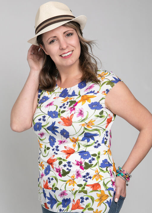 Floral Capped Sleeve Blouse, , original