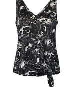 Tropical Print Tank Top with Front Knot, , original image number 0