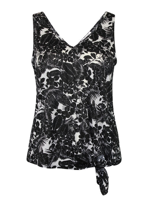 Tropical Print Tank Top with Front Knot, Black, original