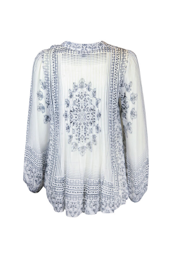 Split Neck Pintuck Paisley Print Long Sleeve Blouse , White, original image number 1