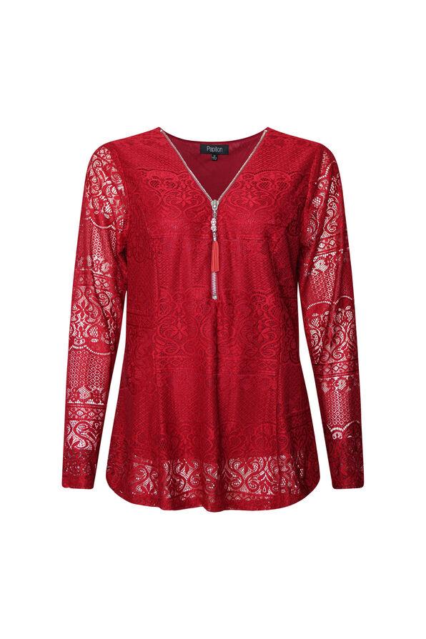 Lace Peplum Long Sleeve Top, , original image number 1