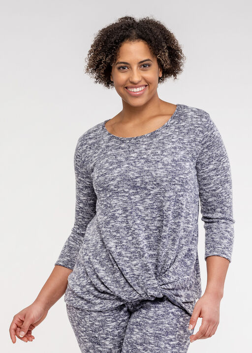 Cozy Knotted 3/4 Sleeve Top, , original