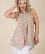 Layered Sleeveless Tunic, Taupe, original image number 2