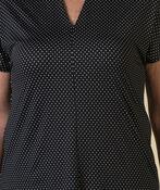 Polka Dot Funnel Neck Short Sleeve Top, Black, original image number 3