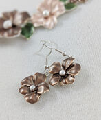 Hibiscus Garden Necklace and Earring Set, Taupe, original image number 2