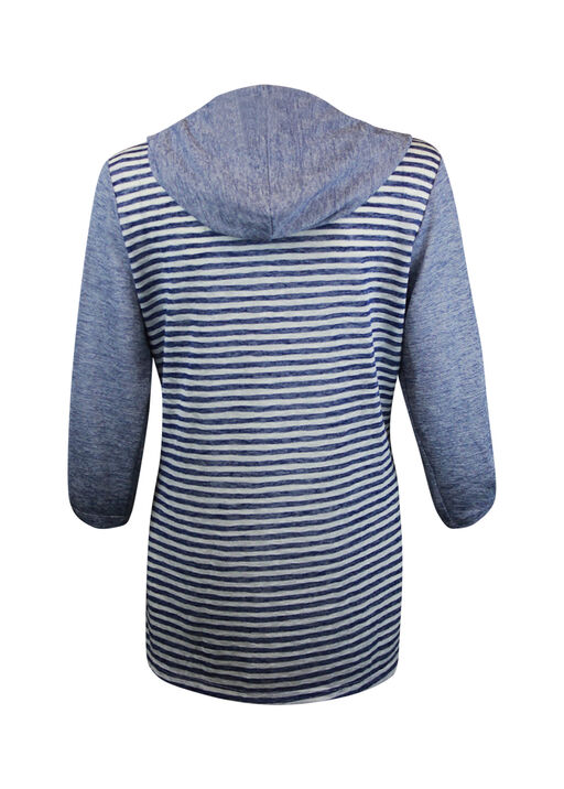Striped Button Front Shirt 3/4 Sleeve with Hood, Navy, original