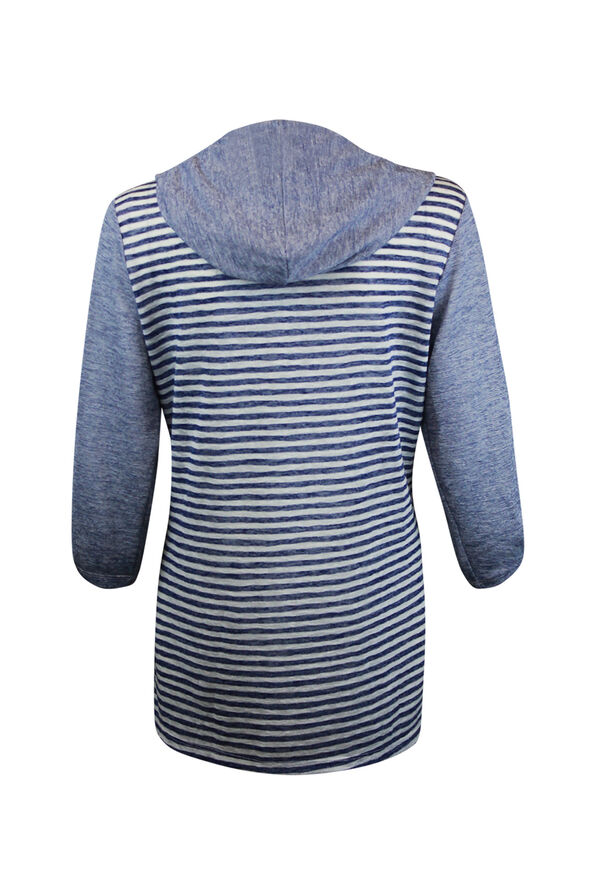 Striped Button Front Shirt 3/4 Sleeve with Hood, Navy, original image number 1