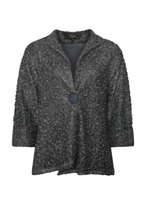 Boucle-Like Cardigan with 3/4 Sleeves, , original