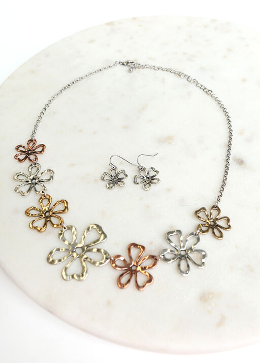 Flower Pendant Necklace Set, Multi, original