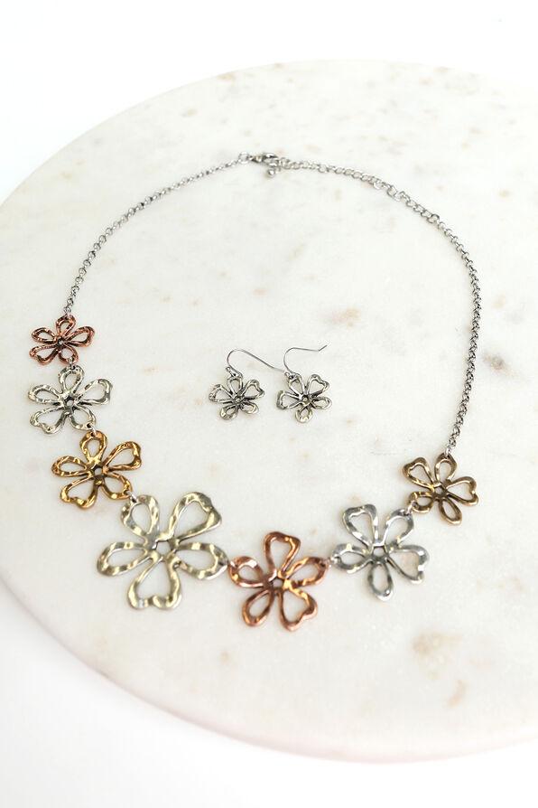 Flower Pendant Necklace Set, Multi, original image number 0