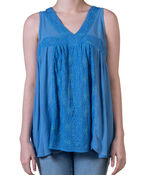 Sleeveless V-Neck Peasant Top with Embroidery, , original image number 1