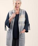 Longer Woolen Vest with Patch Pockets, Grey, original image number 0