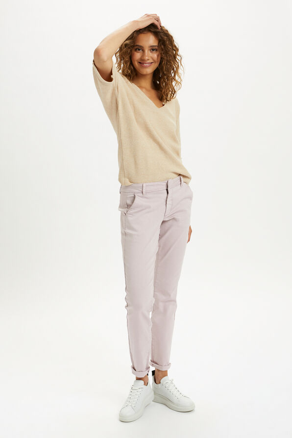 Cream Sillar Knit Pullover Sweater, Beige, original image number 1