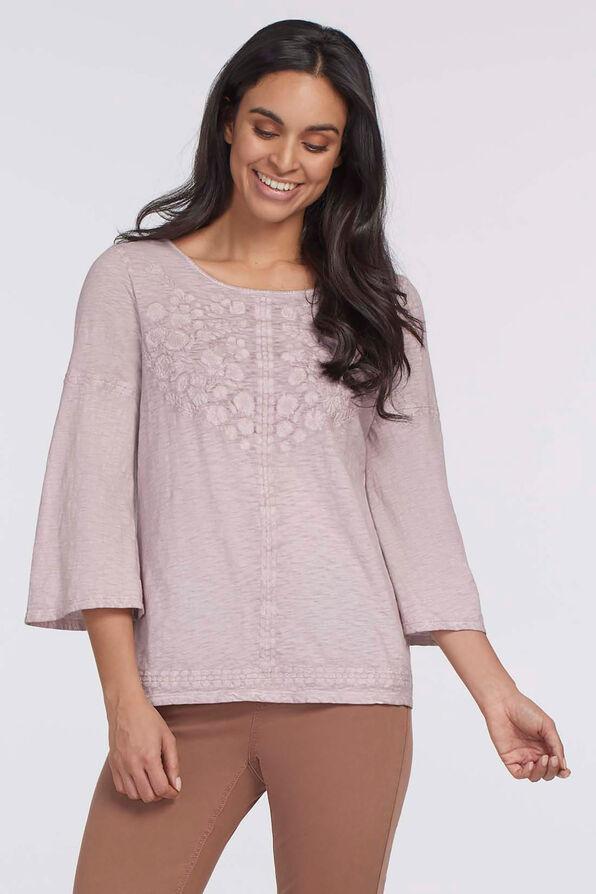Blush Floral Embroidered Flare Top, Lavender, original image number 0