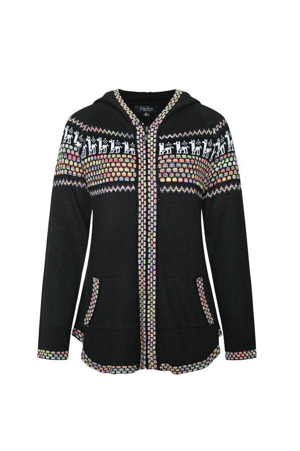 Zippered Fair Isle Cardigan with Hood, Black, original image number 0