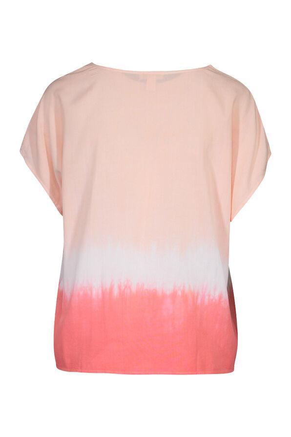 Dip Dye Cap Sleeve Shirt, Coral, original image number 1