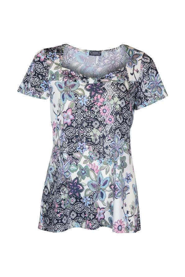 Sweetheart Neckline Short Sleeve Printed Top, Purple, original image number 0