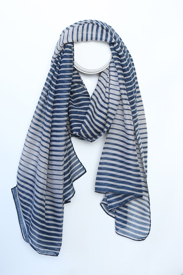 Ripple Striped Fashion Scarf, Blue, original image number 0