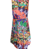 Printed Sleeveless Dress with Asymmetrical Hem, Multi, original image number 1