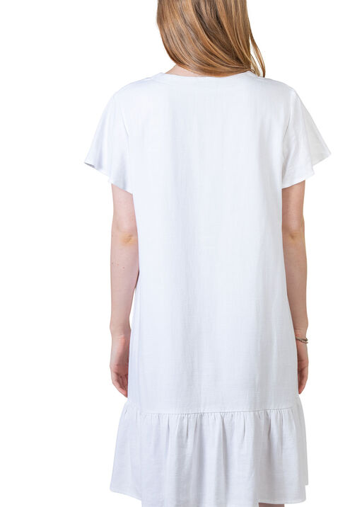 Flutter Sleeve Button Front Dress, White, original
