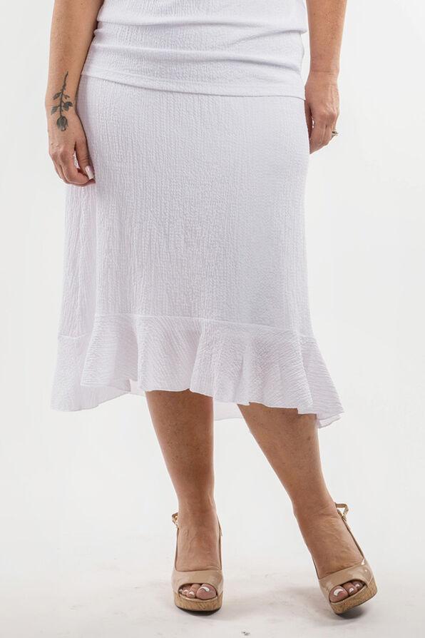 Ruffle Hi-Lo Skirt, White, original image number 0