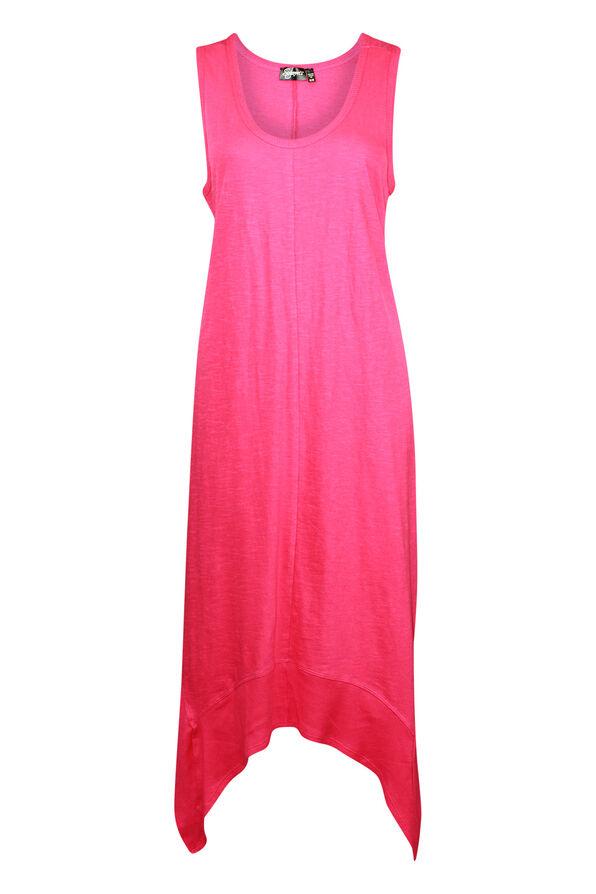 Sleeveless Cotton Midi Dress with Hankie Hem, , original image number 1