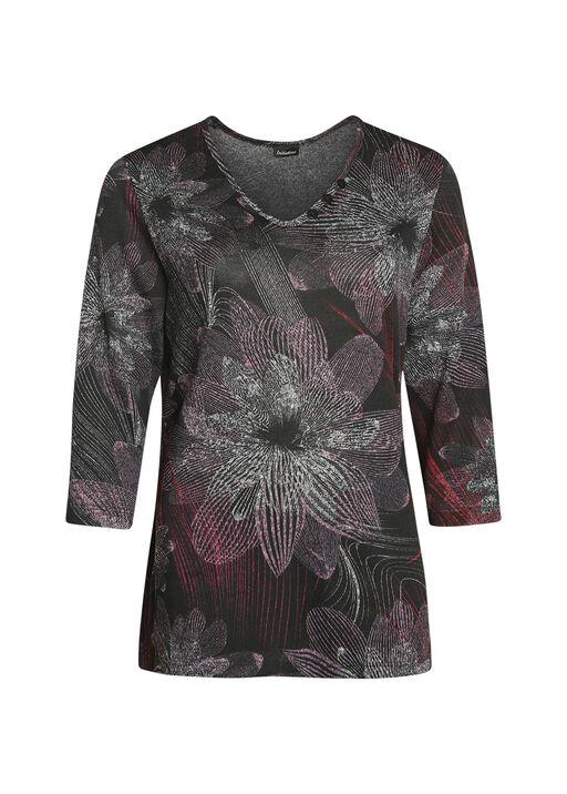 Floral Print V-Neck 3/4 Sleeve Top, Black, original