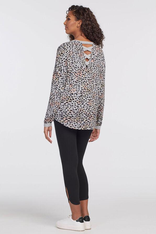 Leopard V-Neck Chic Sweatshirt, Grey, original image number 1