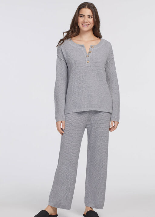 2 PIECE WIDE LEG LONG SLEEVE LOUNGE SET , Grey, original