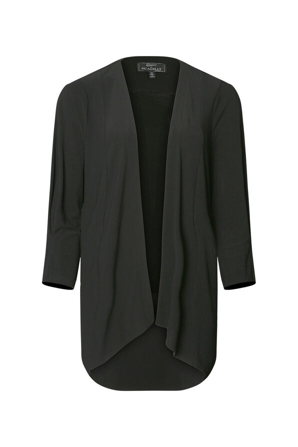 Shawl Front Cardigan with Pleated Sleeve, Black, original image number 0