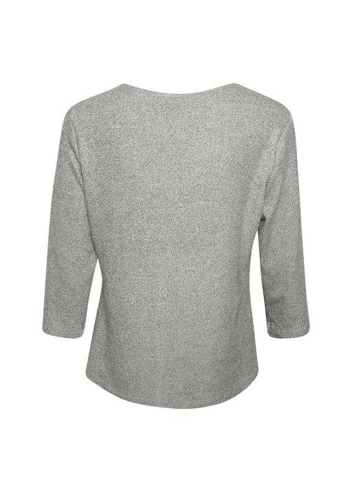 Drape Neck 3/4 Sleeve Top, Grey, original