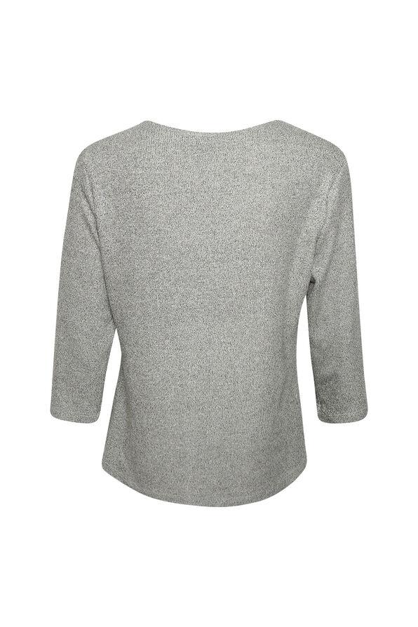 Drape Neck 3/4 Sleeve Top, Grey, original image number 1