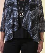 Sheer Printed Cardigan with 3/4 Sleeves, Black, original image number 1