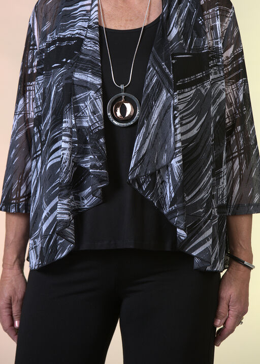 Sheer Printed Cardigan with 3/4 Sleeves, Black, original