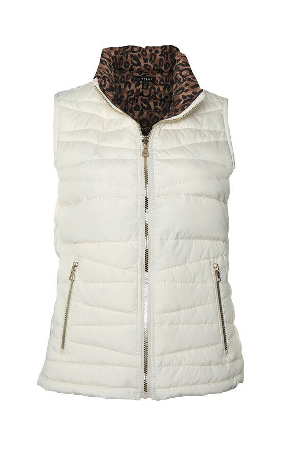 Reversible Animal Print Puffer Vest, Cream, original image number 0