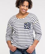 Mixed Stripe and Animal Print 3/4 Sleeve, White, original image number 0