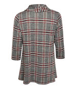 Plaid Cowl Neck Top with 3/4 Sleeve, Grey, original image number 1