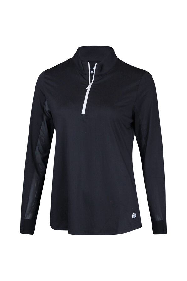 Mid Zip Mock Neck Golf Long Sleeve, Black, original image number 0