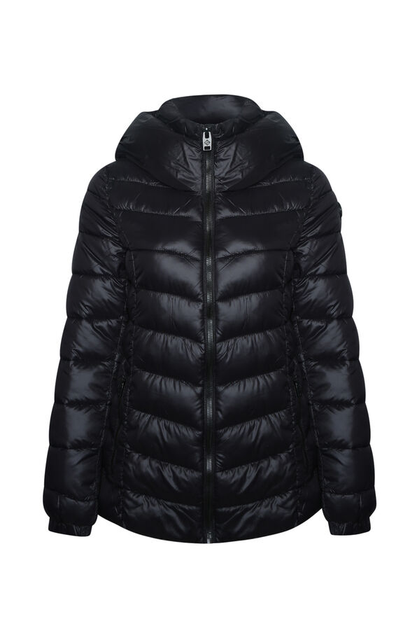 High Collar Mid Weight Hooded Puffer Coat, , original image number 0