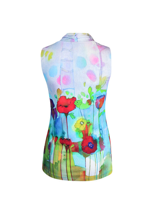 V-Neck Sleeveless Top in Watercolour Print, Turquoise, original