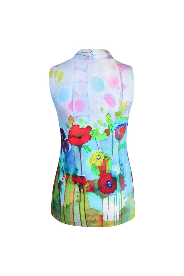 V-Neck Sleeveless Top in Watercolour Print, Turquoise, original image number 1