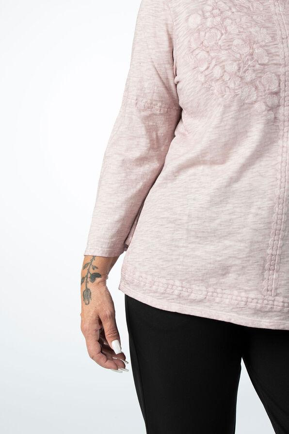 Blush Floral Embroidered Flare Top, Lavender, original image number 3